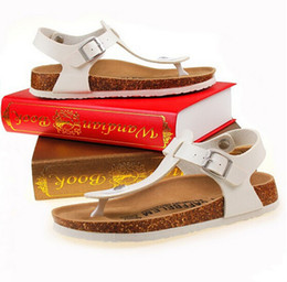 Wholesale T Cork - Wholesale-2016 Summer style Femme Flats Fashion Flip Flops Men cork slippers sandals for women Red black white size 35-43
