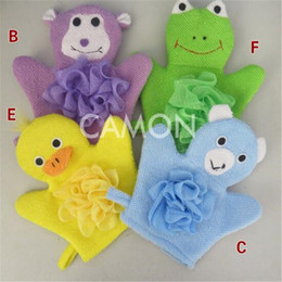 Wholesale Baby Bath Mitts - DHL Baby Products Cartoon Towel Bath Products Animal Bath Gloves Bathing Mitt Bath Gloves Time Fun Easy Dry Quickly with Included Suction