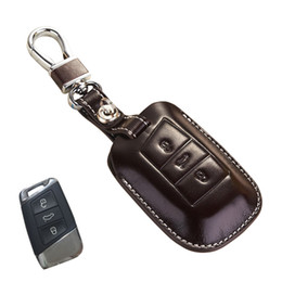 Wholesale Volkswagen Key Fobs - Leather Key Fob Cover For Volkswagen Passat B8 Accessories 2017 Magotan VW Passat B8 2015 Variant 2016 Key Holder Case Key Chain