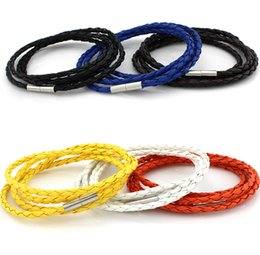 Wholesale Hot Selling Fre - Hot Selling New Style Fashionable personality multi-layer genuine leather stainless steel link bracelet - Free Shipping + Fre Gift