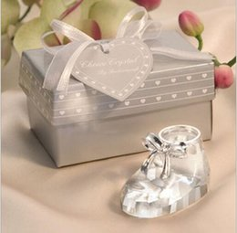 Wholesale wholesale crystal baby shoes - Crystal Baby Shoes Ornaments With Gift Box Keepsakes Baby Birthday Shower Gift Crystal Shoe Figurine Wedding&Bridal Favors
