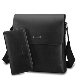 Wholesale Mens Designer Leather Handbags - Mens briefcases wallet set designer leather briefcase designer handbag men shoulder bags cross body men messenger bag