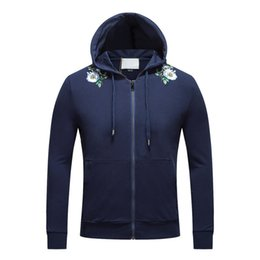 Wholesale Jacket Tags Size - 017 winter new men plus thick coat jacket men's hooded sweater embroidered flower pattern cardigan sweater tide with tag plus size M-3XL