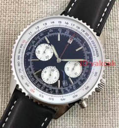 Wholesale Mens Watches Stopwatch - New Leather Chronograph 1884 Japanese Quartz Mens Stainless Steel Watch Sports men's Stopwatch Black Watches Automatic Wristwatches