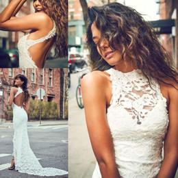 Wholesale Bride Dresses Open Back Mermaid - 2017 Elegant Boho Sheath Wedding Dresses High Neckline Summer Front Slit Open Back Lace Mermaid Bride Gowns