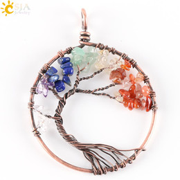 Wholesale Indian Bead Tree - CSJA 7 Chakra Jewelry Rainbow Natural Stone Beads Wrap Wisdom Tree of Life Antique Copper Plated Round Pendant for Necklace E269