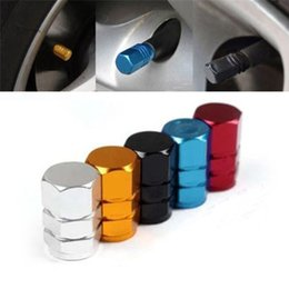 Wholesale Valve Caps Blue - New 4pcs pack Theftproof Aluminum Car Wheel Tires Valves Tyre Stem Air Caps Airtight Cover hot selling