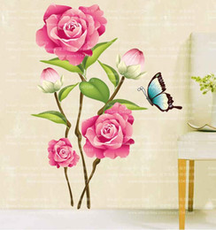 Wholesale Sticker Plastic Roses Flower - 713 Romantic Love Removable DIY 3D Rose Flower Butterfly Wall Sticker Home Decor Room Decals Art Wedding Decoration