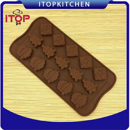 Wholesale Christmas Tree Silicone Mould - ITOP 5pcs lot Christmas Tree Silicone Fondant Cake Molds Soap Chocolate Mould For Christmas and New Year