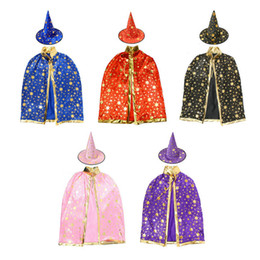Wholesale Witch Cape Black - Children's costume dance five star cape cosplay witch hats dress props