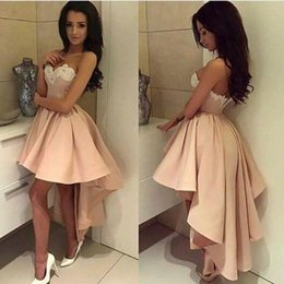 Wholesale High Low Style Prom Dresses - 2017 Modern High Low Style Arabic Short Prom Homecoming Dresses A Line Sweetheart Lace Appliqued Ball Gown Cocktail Dresses Holiday Gowns