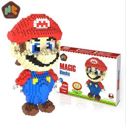 big blocks Coupons - Big size Super Mario Micro Blocks Stitch Micro blocks DIY Building Toys Cute Cartoon Juguetes Auction Figures Kids Gifts
