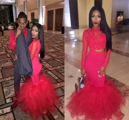 Wholesale Hot Prom Silk Dress - Hot Pink Sheer Long Sleeves Two Pieces Lace Mermaid Prom Dresses 2K17 Organza Floor Length Fake Prom Evening Gowns Formal Party Dresses
