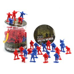 Wholesale Plastic Model Soldiers - High Quality Soldiers Toy 1: 3 Soldiers Soldiers Model 100 People 5CM Military Model Toy Soldier