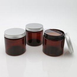 Wholesale Glass Amber Jars - 20 x 200ml Empty Amber PET Jars Aluminum Lids 200g Brown Plastic Cosmetic Contaier with seal