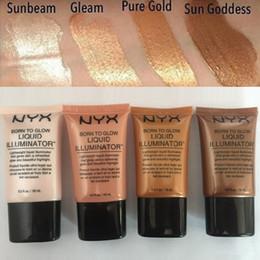 Wholesale illuminator cosmetics - NYX Liquid Foundation Face Concealer Makeup Born To Glow Liquid Illuminator BB Cream Make Up Powder Cosmetics 18ml Free DHL