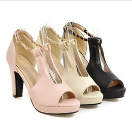 Wholesale Sexy Peep Toe Flat Sandal - New fish mouth Roman sandals summer Lady sexy high-heeled thick with wedding shoes women's shoes