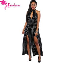 Wholesale Jumpsuit Slits - Wholesale- Dear-Lover Black White Stripes Slit Legs Sexy Turtleneck Club Jumpsuit Long 2016 Summer Rompers Women Overalls Macacao LC64075