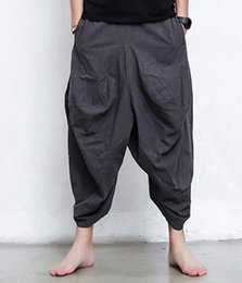 Wholesale Linen Cropped Pants - Wholesale-Men Women Japanese Samurai Style Boho Casual Low Drop Crotch Loose Fit Harem Baggy Hakama Capri Cropped Linen Pants Trousers