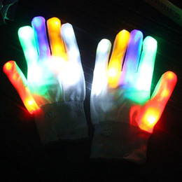 Wholesale led finger light white - Rainbow Flash Gloves LED Light Up Stage Performance Colorful Finger Lighting White Magic Glove Glow Party Dance Mittens 13 5yt F