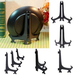 Wholesale Bamboo Picture Framing - Wholesale- Black Plastic Plate Display Stand Picture Frame Easel Holder Kitchen Decor Plate Holders