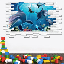 Wholesale Decoration Fish Stickers - AM9108 3D DIY PVC Wall Sticker Ocean World Sea Lovely Dolphin Fish Decals Kids Room Decoration