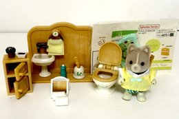 Wholesale Plastic Toy Toilets - Wholesale- Sylvanian Family rest room toilet set WC set mini animal rabbit fireplace desk chair figure doll puppet furniture toy gift