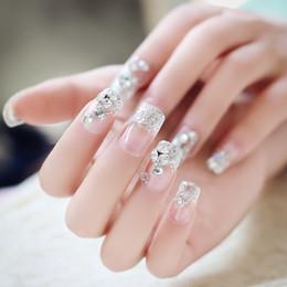 Wholesale Diamond Acrylic Powder - Flashing False Nails Flashing 24 Pieces Boxed Bride Flash Powder Diamond Fake Nail Patch Super Flash Nails Nail Art