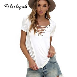 Wholesale Wholesale Fashion Strappy - Wholesale-8 color Shirt Women Tees 2016 Hollow out Strappy Front Summer Plus size T Shirt Tops short-sleeve Sexy V-neck T-shirts Female
