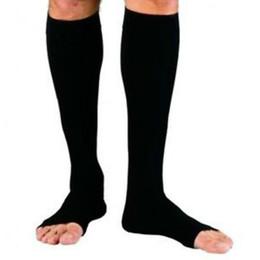 Wholesale Open Toe Socks Women - Wholesale- Zipper Compression Zip Leg Support Knee Stockings Sox Open Toe S M XL