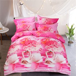 Wholesale Swan Duvet - 3D Printed Bedding Sets 200*230cm Duvet Covers 74*48cm Pillowcase Queen Size Cotton Rose Swan Pattern Quilt Cushion Cover Pillowslip