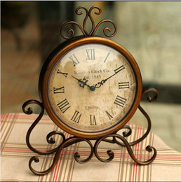 Wholesale Classic Metal Works - Wholesale-Europe type restoring ancient ways frame wrought iron table clock creative home wall clock bell bedroom Classic adornment