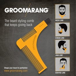 Wholesale hair template - 2017 Hot GROOMARANG Beard Symmetry Styling & Shaping Template Comb Trimming Facial Hair EPacket Shipping