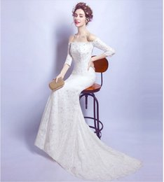 Discount backless wedding dress veils - 2017 Charming Spring Summer Mermaid Lace Wedding Dress Simple White Vestido De Novia Custom Bridal Gowns Dress Long Sleeve+ Free Veils