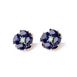 Wholesale Unique Earrings Studs - Lastest Fashion Design Accessories Women Wholesale Jewelry Gold Plated Alloy Cute Charm Unique Sapphire Stud Earrings