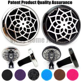 Wholesale Magnet Stones - Wholesale- Silver and Black Lotus(38mm) Magnet Diffuser 316 Stainless Steel Car Aroma Locket Free Pads Essential Oil Car Diffuser Lockets