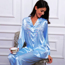 Wholesale Sexy Pjs - Womens Silk Satin Pajamas Set Pyjamas PJS Set Sleepwear Set Nightwear Loungewear XS~ 3XL Plus Size__Gifts