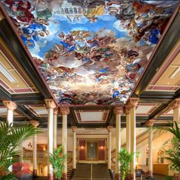 Wholesale Photo Oil Paintings - Wholesale-Custom 3D Photo Wallpaper European Classical People Oil Painting Hotel Living Room Bedroom Ceiling Wall Mural Wallpaper Painting