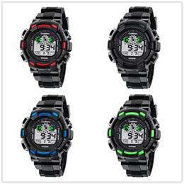 Wholesale Mens Alarm Watches - Mens Sports Watches Multifunction Digital LED Wristwatches Luminous Alarm Calendar Waterproof Watch Boys Girl Children Gift Watches