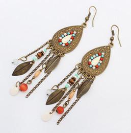 Wholesale Beads Metal Colorful - 4 Colors Retro Ethnic Jewelry Boho Earrings Colorful Beads Metal Feather Tassel Dangle Chandelier Earrings
