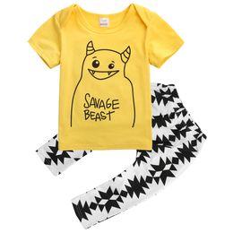 Wholesale Yellow Minion Kids T Shirts - Kid Baby Boys Girls Clothes Sets Minions Cartoon 2pcs Child Kids Boy Girl Toddler Infant Yellow T-shirt Tops Pants Clothing Set