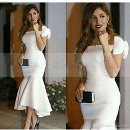 Wholesale One Shoulder Bow Evening Dress - Custom Made 2017 White Satin Mermaid Arabic Formal Prom Dresses Cap Sleeves Bow Tea Length Plus Size Hi Low Evening Special Occasion Gowns