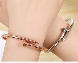 Wholesale Hot Women Open - Hot Sale Factory Price Sale Fashion Popular EXO Women Titanium Steel Nail open Lover's Bangles J005