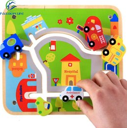 Wholesale 3d City Puzzles - 3D Puzzle City Track Maze Child Wooden Toys Catoon Police FireTruck Cars ambulance educational toys maze game Early Education