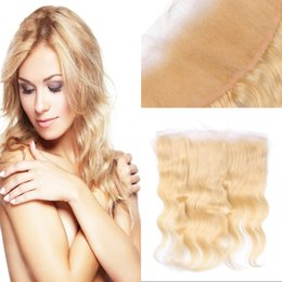 Wholesale Russian Body Wave Hair - 613 frontal lace closure with baby hair body wave Russian human hair middle free 3 part blonde frontal FDSHINE