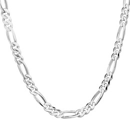 Wholesale 14k Gold Figaro - Wholesale- LUCKY YAER 1pc Chain Men's Jewelry Accessories Silver Color Chain Necklace Chain Necklaces for Women Unisex Jewelry 16-30 INCHES