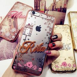 Wholesale Secret Case Iphone - For iphone 5 5s se 6 7 8 plus X Cute Secret Garden Exclusive Customize Name Personal Flower Diamond soft case