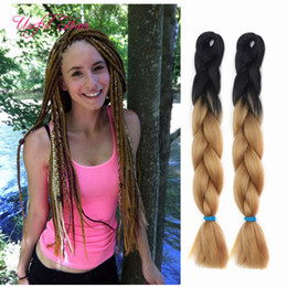 wholesale synthetic blue color braids Promo Codes - marley twist hair bundles 24inch Jumbo BRAIDS SYNTHETIC braiding hair two tone ombre color crochet extensions box crochet braids hair
