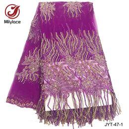 Wholesale Rhinestone Yards - African rhinestones lace fabric 5 yards per lot french tulle lace fabric party  wedding dress tissue JYT-47
