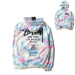 Wholesale Hooded Jacket Cap - Tide brand world tour ice cream sunscreen jacket and tie dye color gradient thin coat trendsetter Collar type cap Color figure color Size